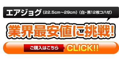 エアジョグ(22.5cm〜29cm)(白・黒12枚コハゼ)業界最安値の3,390円(税込)しかも即日発送OK!!ご購入はこちら!
