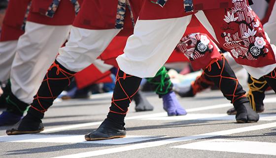 エアー地下足袋が活躍する代表的な夏まつり「よさこい祭り」